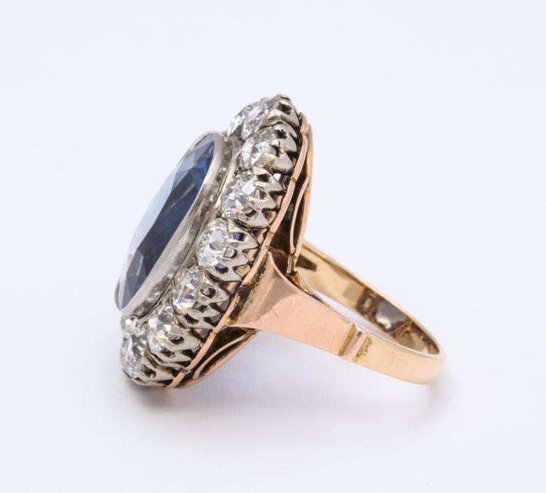 High Victorian Victorian Ceylon Sapphire Diamond Yellow Gold Ring For Sale