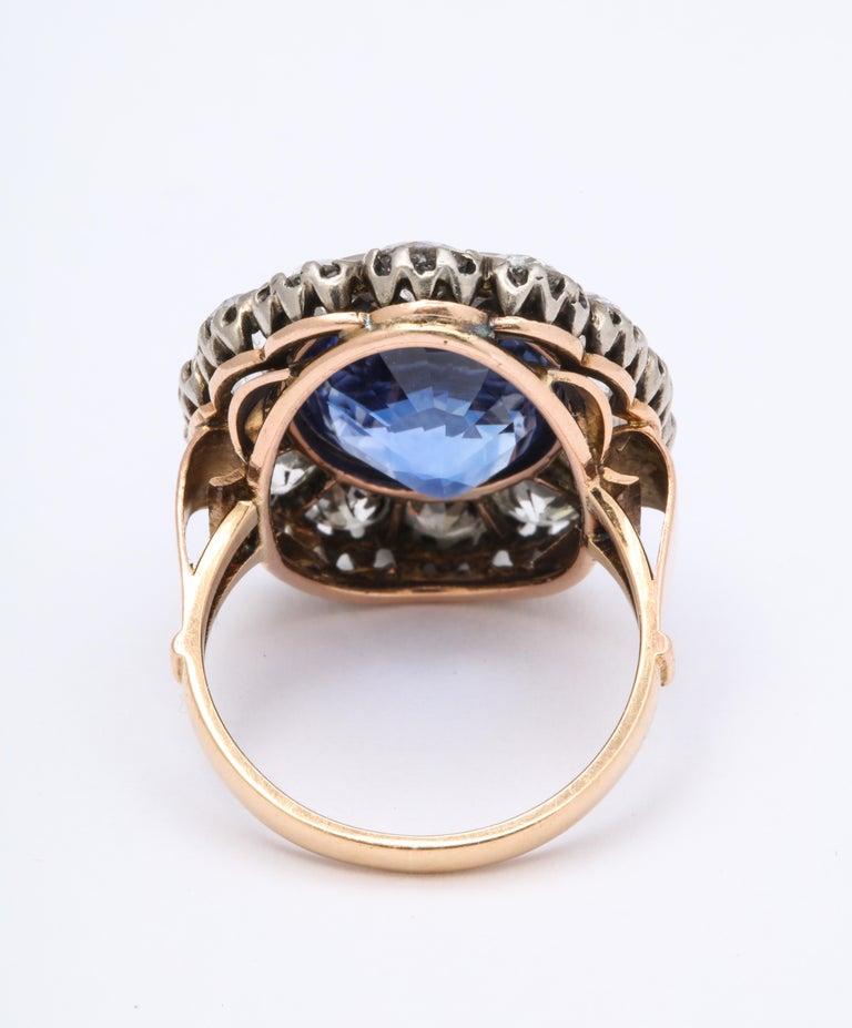 Cushion Cut Victorian Ceylon Sapphire Diamond Yellow Gold Ring For Sale