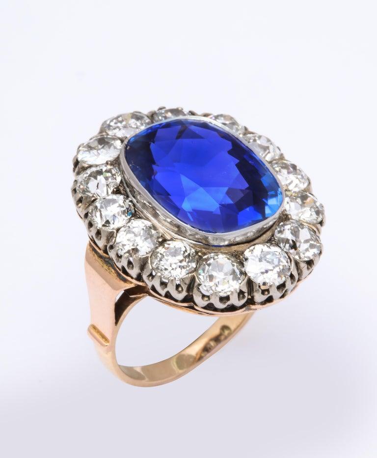 Women's Victorian Ceylon Sapphire Diamond Yellow Gold Ring For Sale