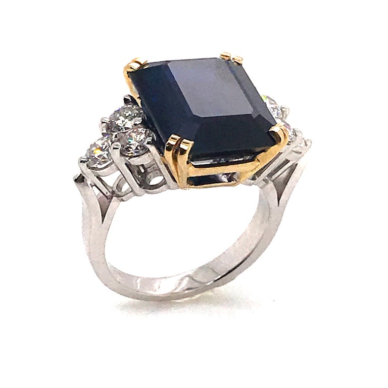 Emerald Cut Ceylon Sapphire Diamonds Emerald Size White and Yellow Gold Ring For Sale