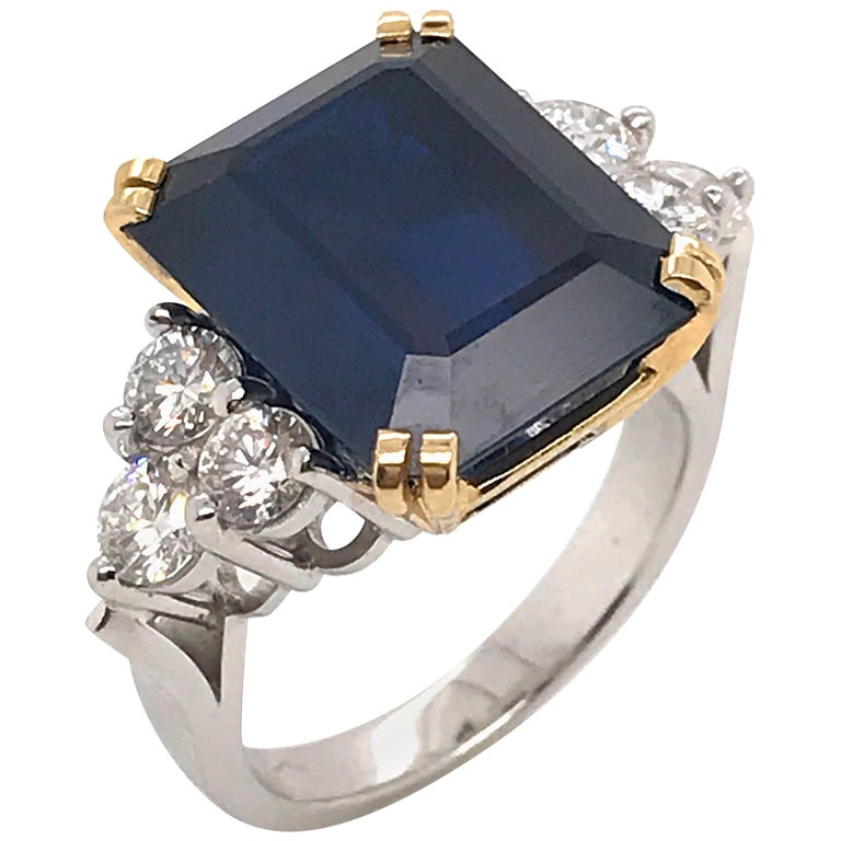 Ceylon Sapphire Diamonds Emerald Size White and Yellow Gold Ring For Sale