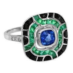 Ceylon Sapphire Emerald Onyx Diamond Cocktail Ring