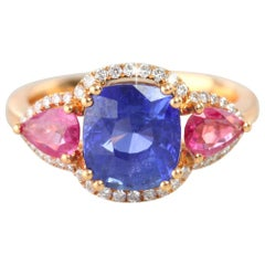 Ceylon Sapphire with Side Pave Diamond and Pink Pear Shape Sapphire Ring