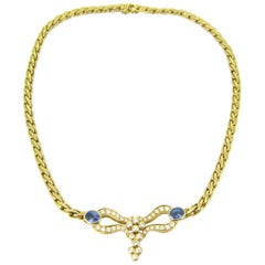 Ceylon Sapphires and Diamonds Necklace, 18kt Yellow Gold, France