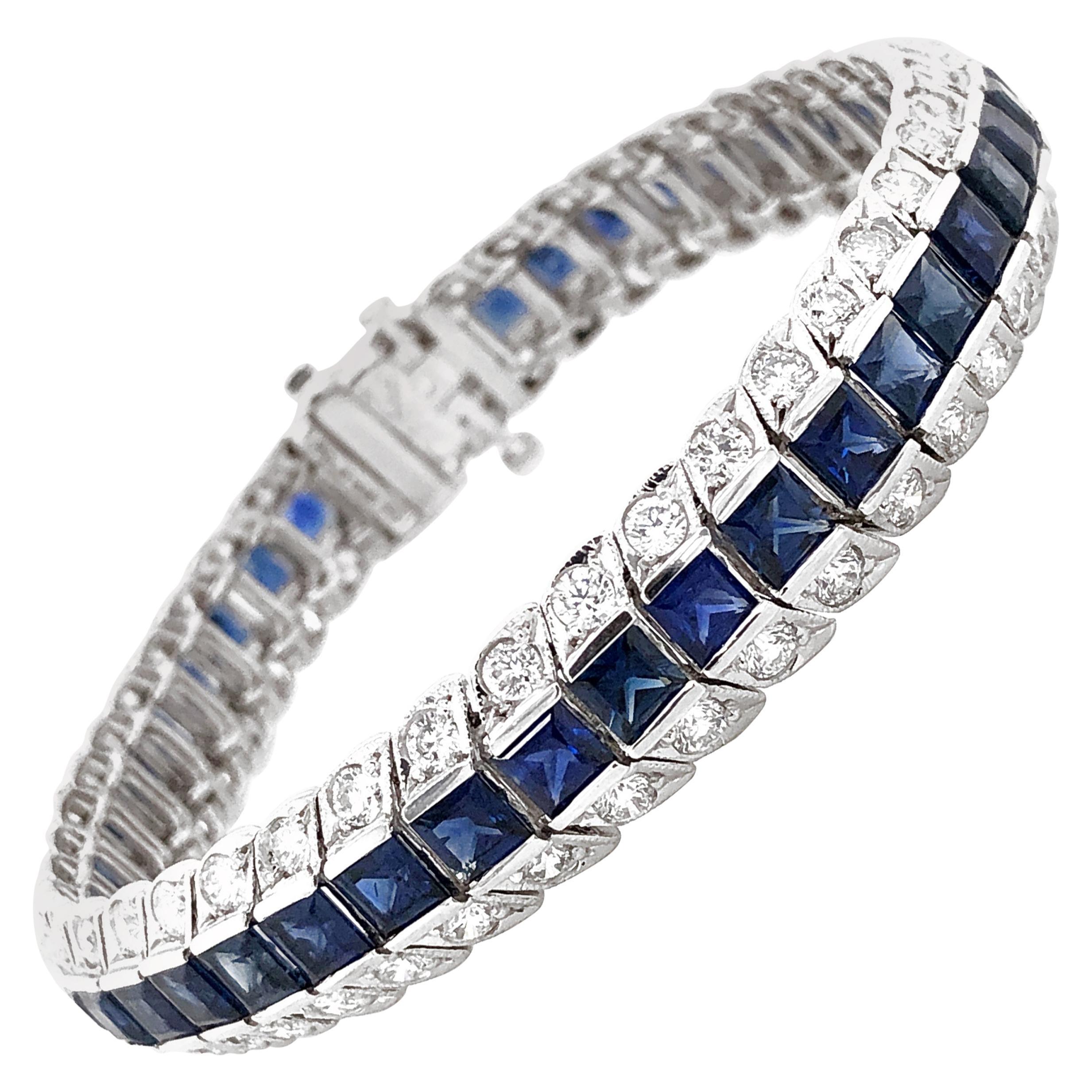 Ceylon Square Cut Blue Sapphires 13.75 Carat Diamond Platinum Link Bracelet