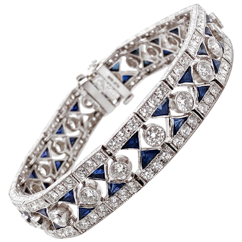 Ceylon Trillion Sapphires 6.93 Carat Diamond Platinum Bracelet