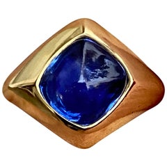 Ceylon Unheated Sugarloaf Sapphire Cabochon Ring in 18 Karat Gold