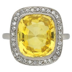 Ceylon Yellow Sapphire and Diamond Coronet Cluster Ring, circa 1920