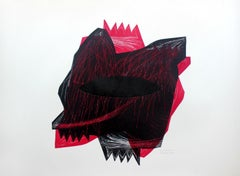 Creature 3 - 21 century, Abstraction, Mixed media print, Red