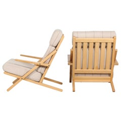 CFC Danish Modern Pair of Lounge Chairs of Oak with the Original Cushions
