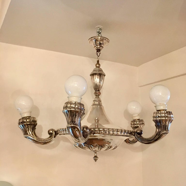 CG Hallberg Swedish Grace, 1920 Chandelier In Excellent Condition For Sale In New York, NY