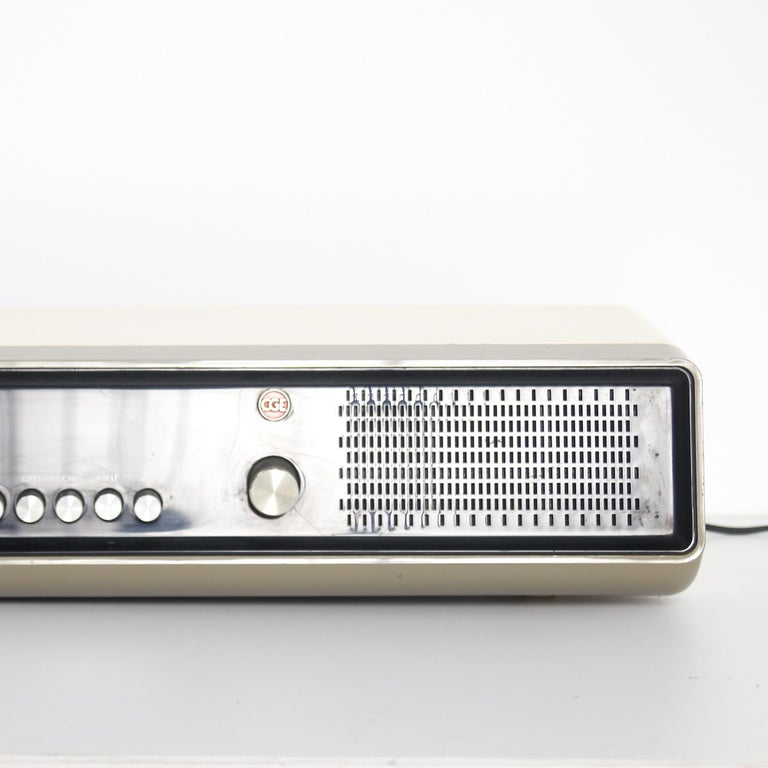 Plastic Mid Century Modern Black and White CGE 1970 Radio Made in Italy, 1970s For Sale