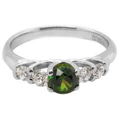 CGL Certified 0.54 Carat Russian Demantoid Garnet Diamond Platinum PT900 Ring