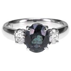 CGL Certified 1.58 Carat Color Change Garnet Diamond Wedding PT900 Ring