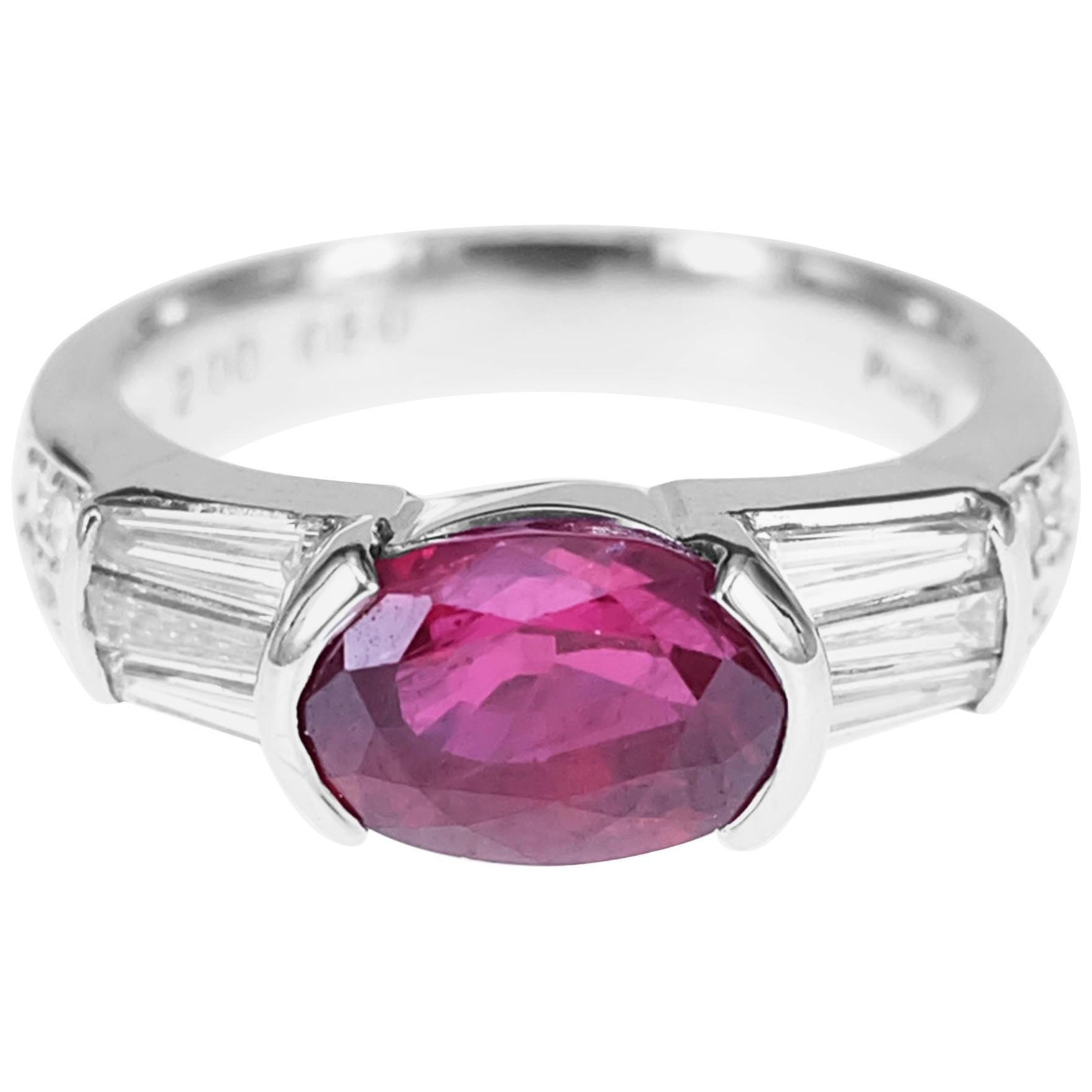 CGL Certified 2.00 Carat Vivid Red Ruby Diamond PT900 Solitaire Ring