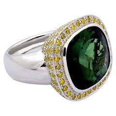 CGL Certified, 21.4 Carat Natural Tourmaline, 137 Diamonds 3.30 Carat, Ring