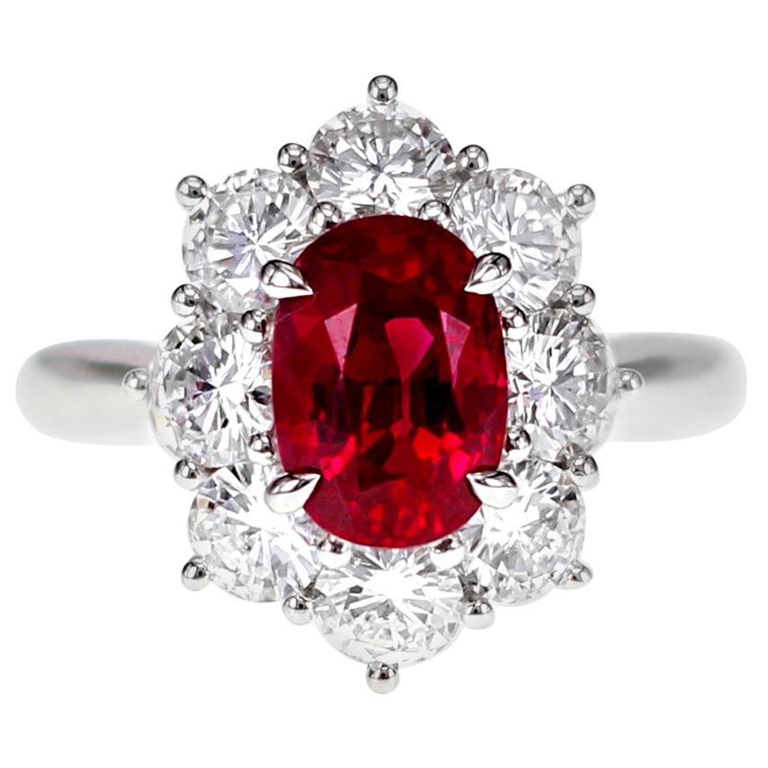 CGL Certified 2.32 Carat Vivid Red Ruby and Diamond Solitaire Ring Platinum 900