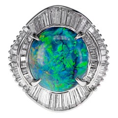 CGL Certified 4.88 Carat Australian Black Opal and Diamond Wedding Ring Platinum