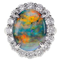 CGL Certified 4.97 Carat Australian Lightening Ridge Black Opal and Diamond Ring