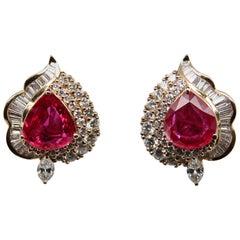 CGL Certified 7.04 Carat Thai Ruby and Diamond 18 Karat Gold Earring