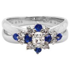 CGL Certified Hauynite Rare Stone Diamond Exquisite Cocktail Ring Platinum PT900