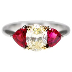 CGL & GRJ Japan Lab Certified Diamond and Ruby Solitare Ring