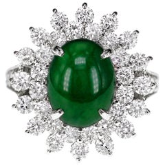 CGL Japan Lab Certified 4.03 Carat Jadeite 'Jade' Diamond Solitaire Ring PT900