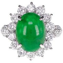 CGL Japan Lab Certified 5.18 Carat Jadeite 'Jade' and Diamond Wedding Ring