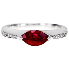 CGL Japan Laboratory Certified Vivid Red Ruby Set in PT 900 'Platinum'