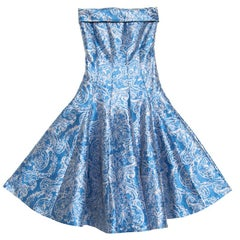 CH Carolina Herrera Blue Floral Brocade Strapless Fit and Flare Dress XS