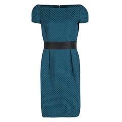 CH Carolina Herrera Blue Houndstooth Pattern Embossed Jacquard Cocktail Dress L