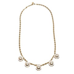 CH Carolina Herrera Faux Pearl Gold Tone Long Chain Link Necklace