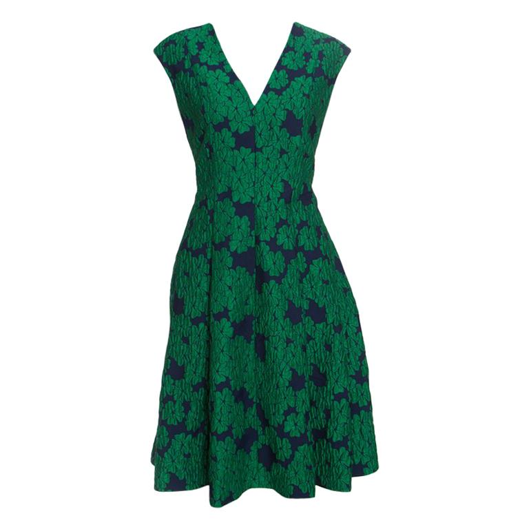 CH Carolina Herrera Green Brocade Fit and Flare Sleeveless Dress L For Sale