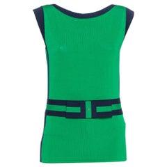 CH Carolina Herrera Green Knit Contrast Trim Bow Detail Sleeveless Top M