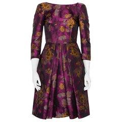 CH Carolina Herrera Magenta Floral Jacquard Pleated Midi Dress S