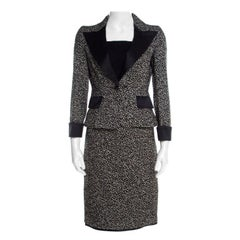 CH Carolina Herrera Monochrome Embossed Jacquard Satin Trim Skirt Suit S