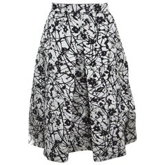 CH Carolina Herrera Monochrome Floral Patterned Brocade Flared Skirt M
