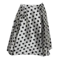 CH Carolina Herrera Monochrome Polka Dot Satin Box Pleated Short Skirt XS