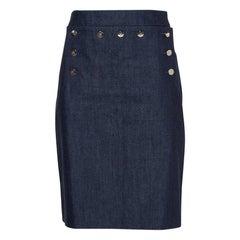 CH Carolina Herrera Navy Blue Denim Button Detail Knee Length Skirt L