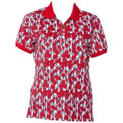 CH Carolina Herrera Red Floral & Logo Printed Cotton Pique Polo T-Shirt M