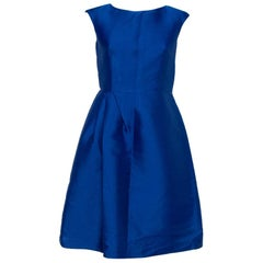 CH Carolina Herrera Royal Blue Silk Draped Detail Flared Dress S