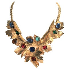 Ch. Dior maple leaves collier, sign. Ch. Dior Germany  gold plated 1990s