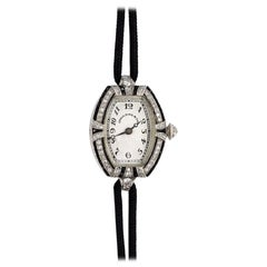 C.H. Meylan Art Deco Ladies Platinum, Diamond and Onyx Wristwatch
