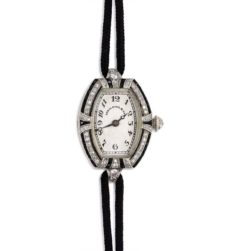 C.H. Meylan Lady's Platinum, Diamond and Onyx Art Deco Wristwatch