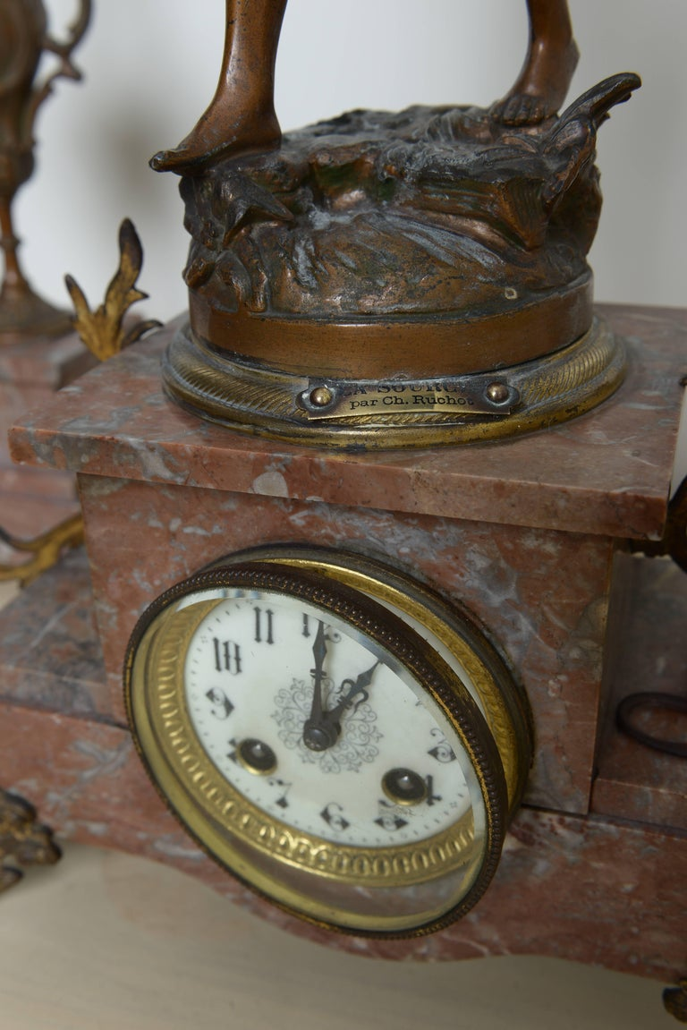 Hand-Crafted Ch. Ruchot Art Nouveau Clock For Sale