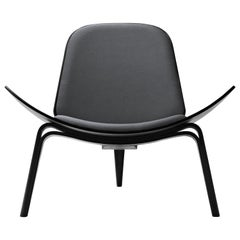 CH07 Shell Chair in Oak Painted Black with Foam Seat by Hans J. Wegner