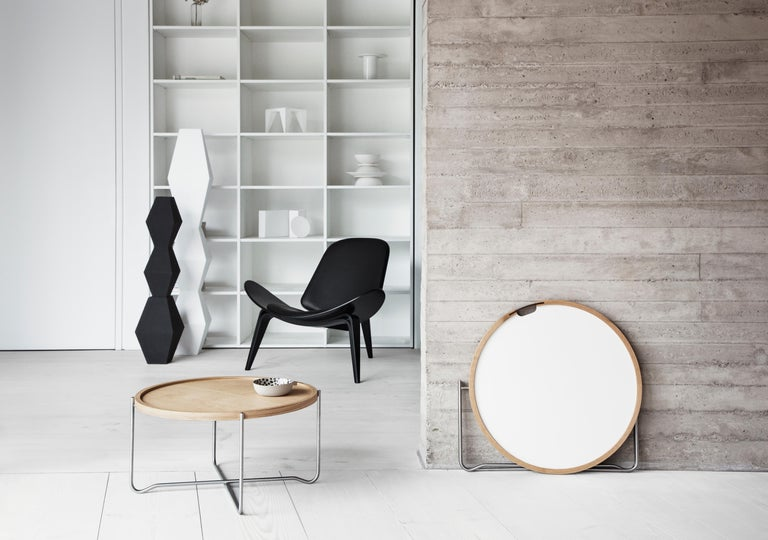 CH07 Shell Chair in Oak White Oil with Leather Seat by Hans J. Wegner For Sale 8