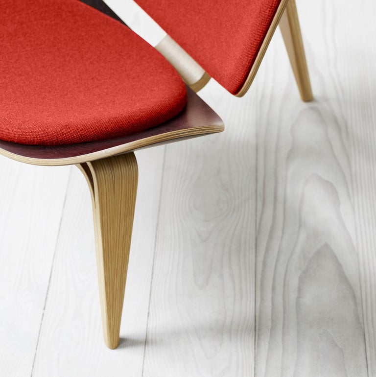 Fabric CH07 Shell Chair in Oak White Oil with Foam Seat by Hans J. Wegner For Sale