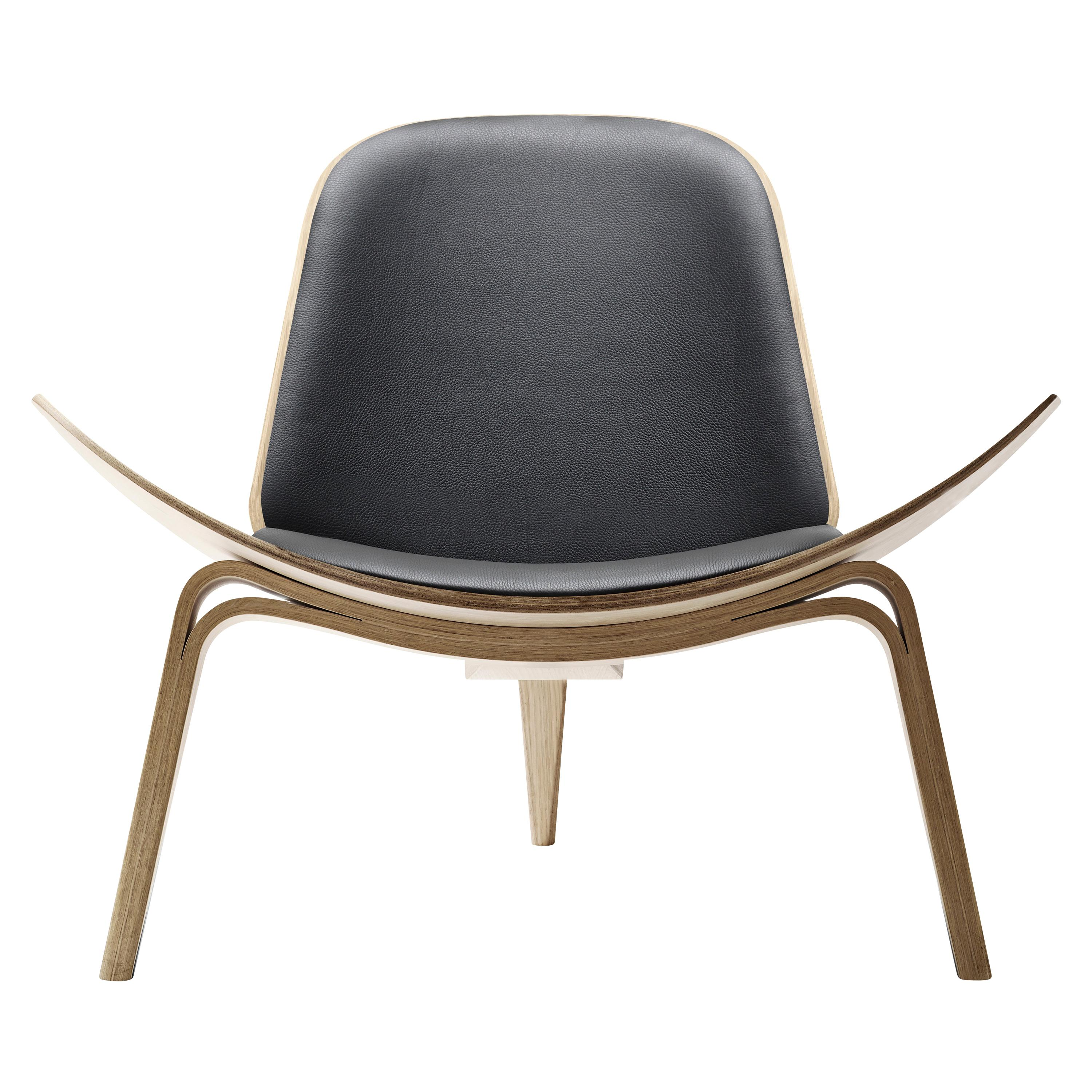 CH07 Shell Chair in Oak White Oil with Leather Seat by Hans J. Wegner