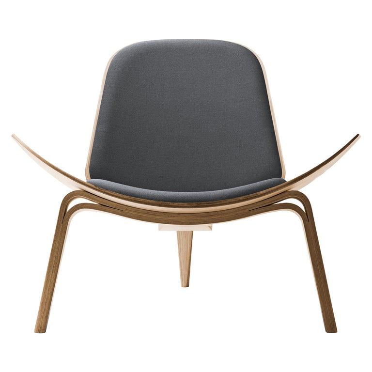 For Sale: Gray (Kvadrat Fiord 171) CH07 Shell Chair in Oak White Oil with Foam Seat by Hans J. Wegner